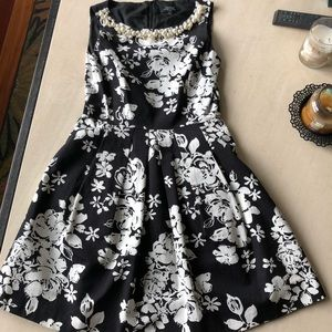 Tahari black and white floral dress
